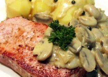 Rôti de porc et champignons à la crème