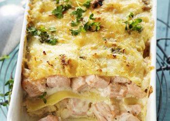 Lasagne au saumon et à l'origan