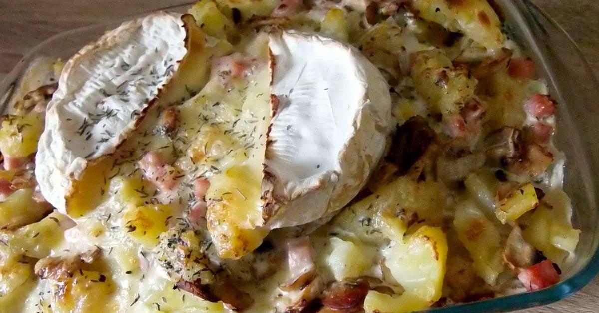 Gratin de pommes de terre champignons et camembert
